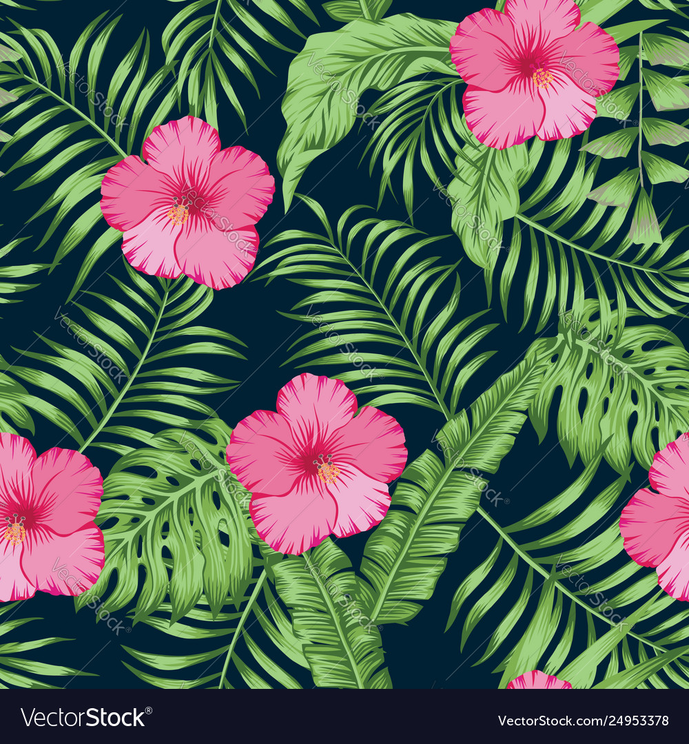 Tropical leaves and hibiscus seamless dark blue