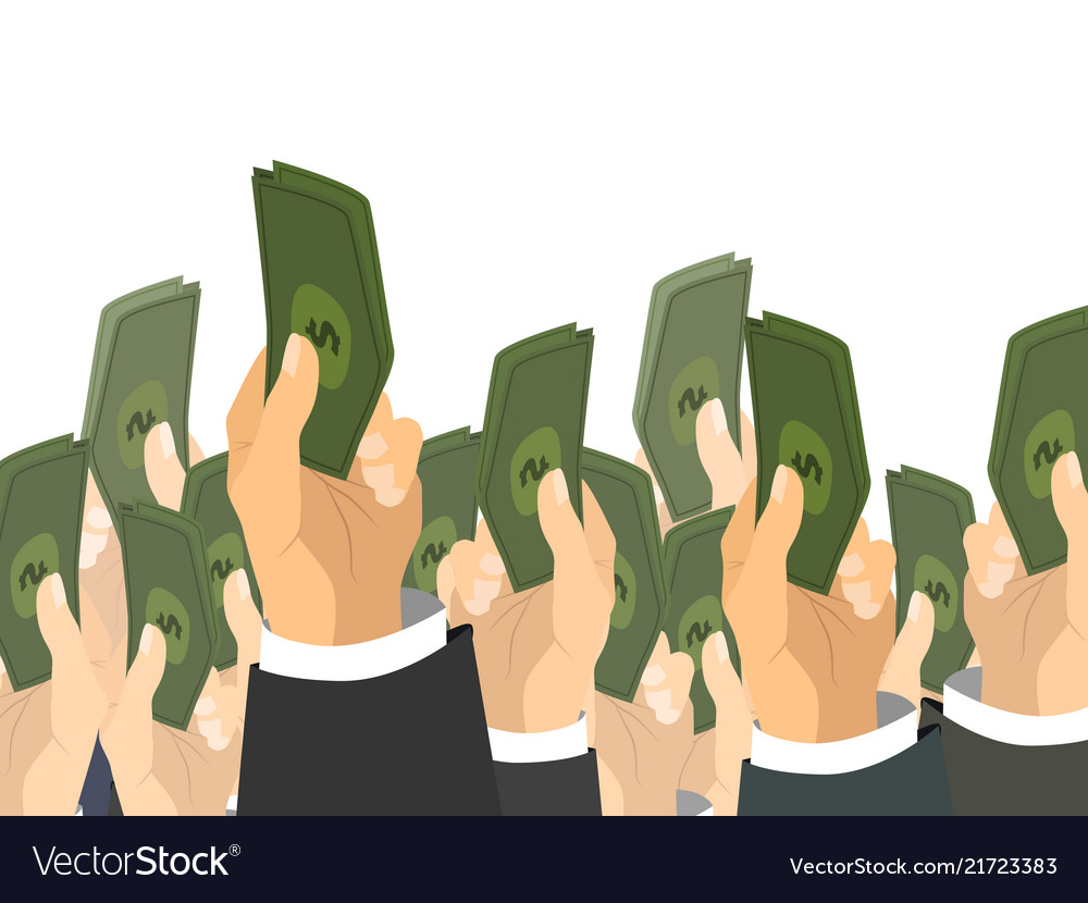 A lot of hands holds a bunch of banknotes with