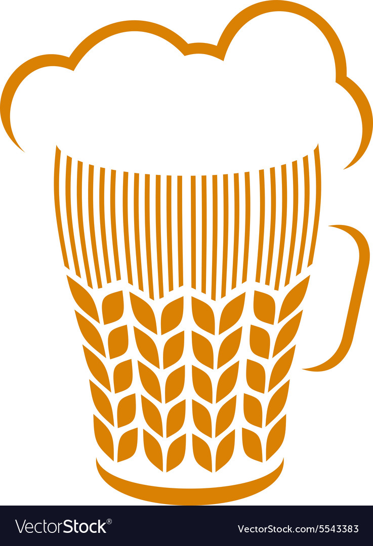 Beer glass with wheat ears and foam logo concept