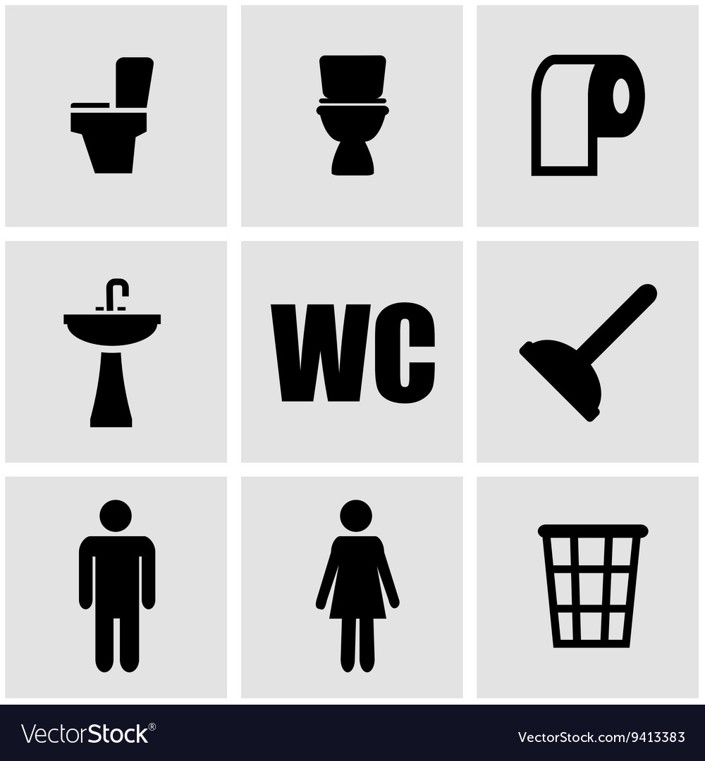 Black toilet icon set vector image