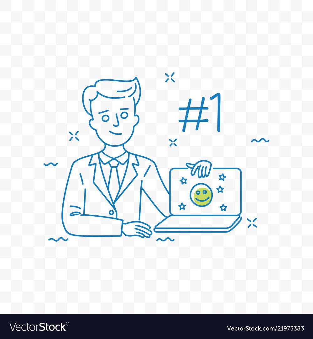 Brand reputation management doodle icon
