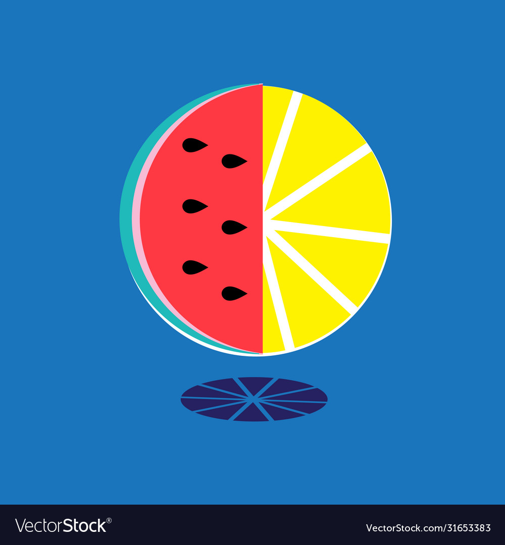 Bright sign watermelon slice and lemon