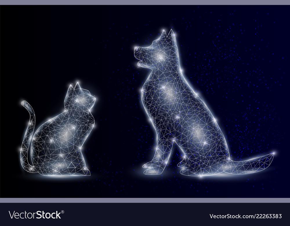 Cat and dog geometric polygonal background