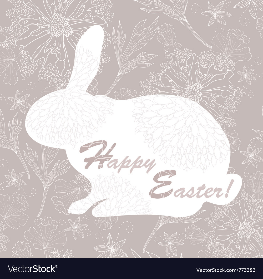 Easter rabbit easter card with floral pattern