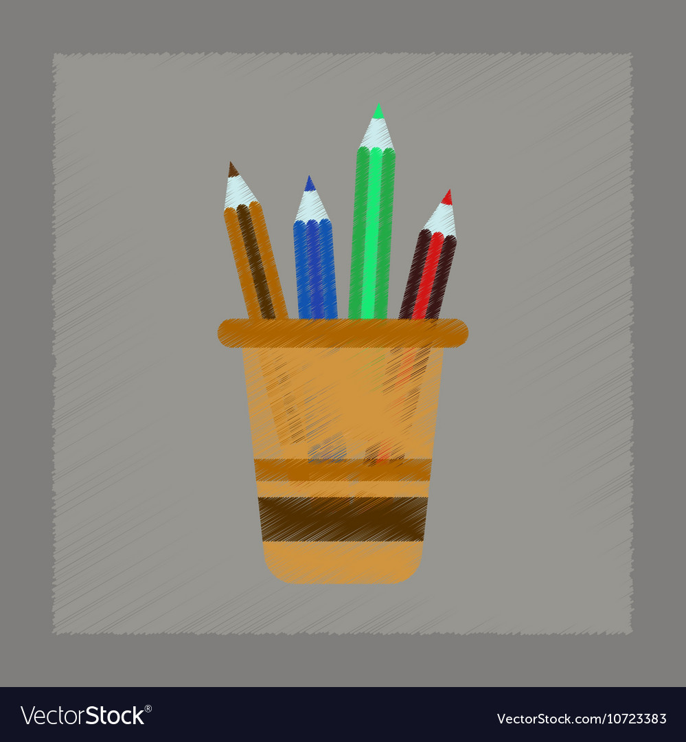 Flat shading style icon Pencils in stand