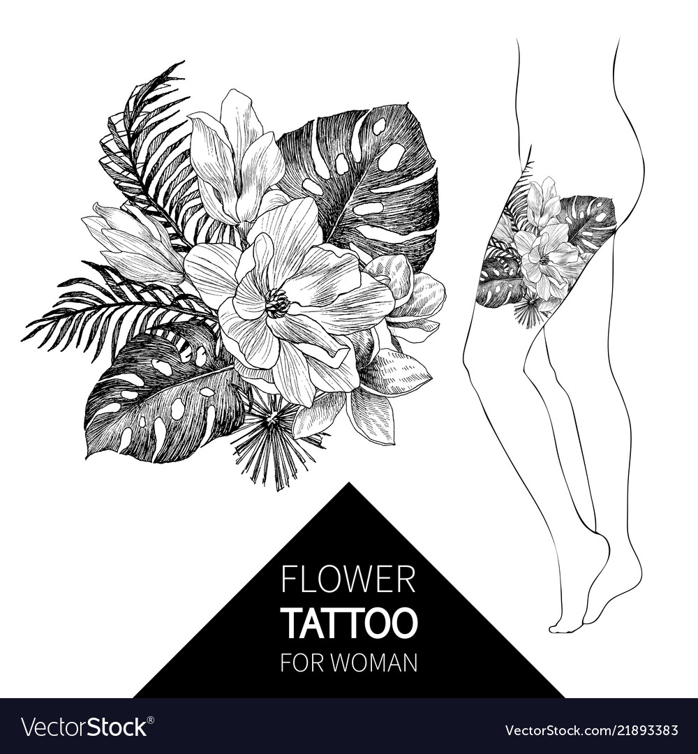 Hand drawn flowers and leaves tropical plants