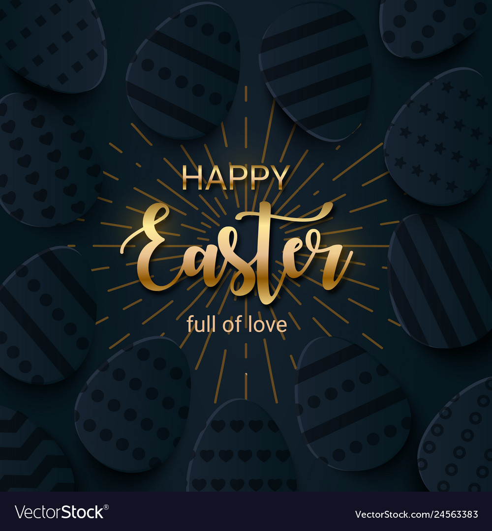 Happy easter greeting banner with a gold lettering