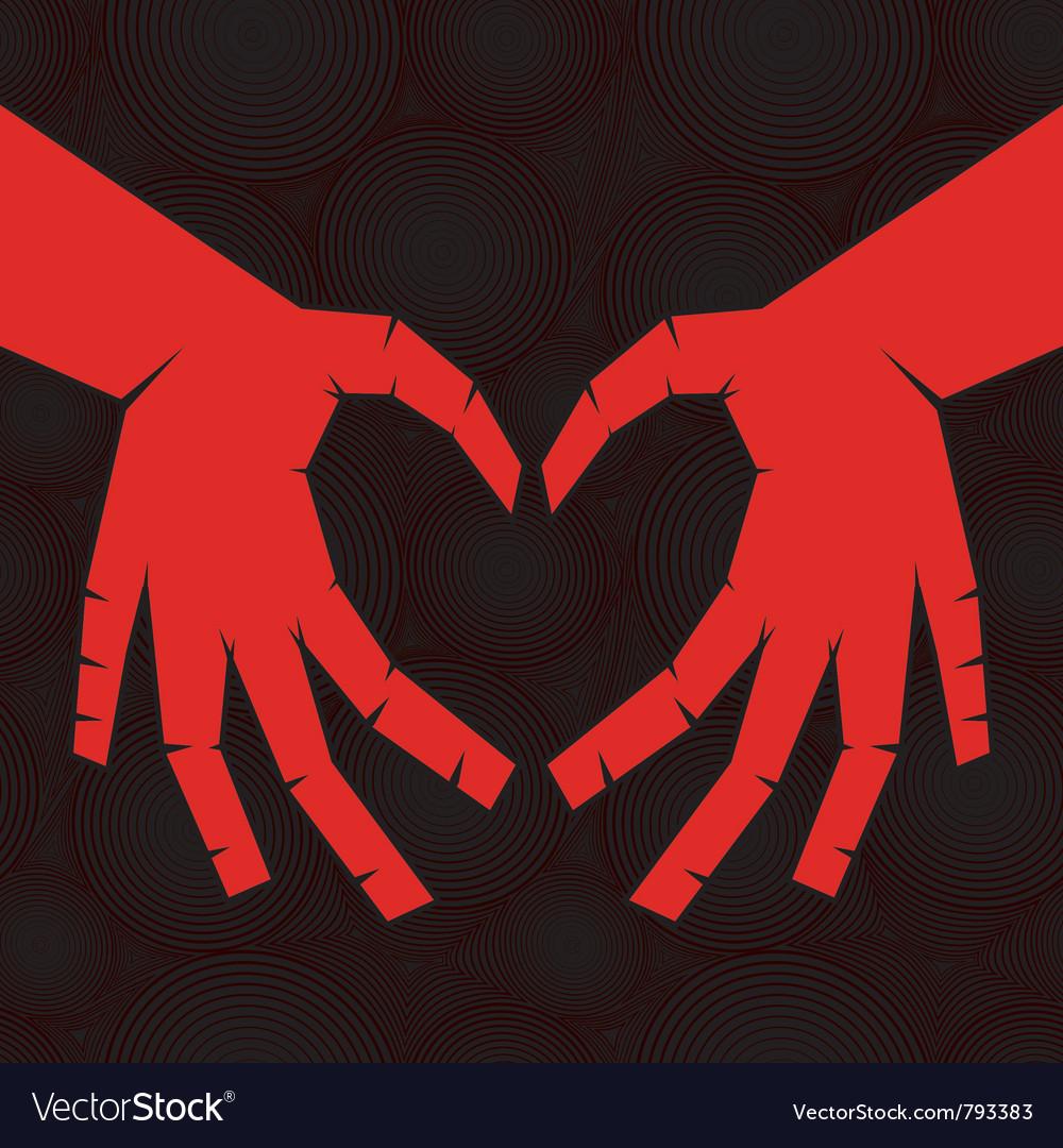 Heart shaped hands Royalty Free Vector Image - VectorStock