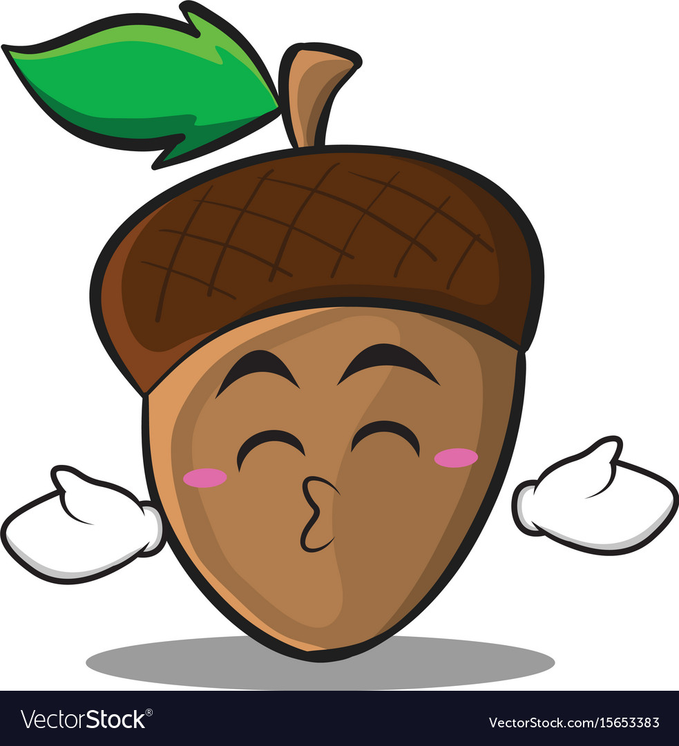 Kissing closed eyes acorn cartoon character style vector image
