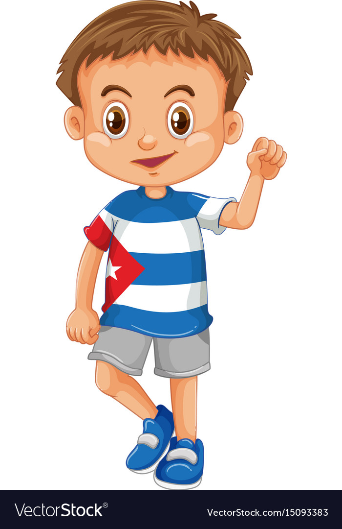 Little boy wearing shirt with cuba flag vector image