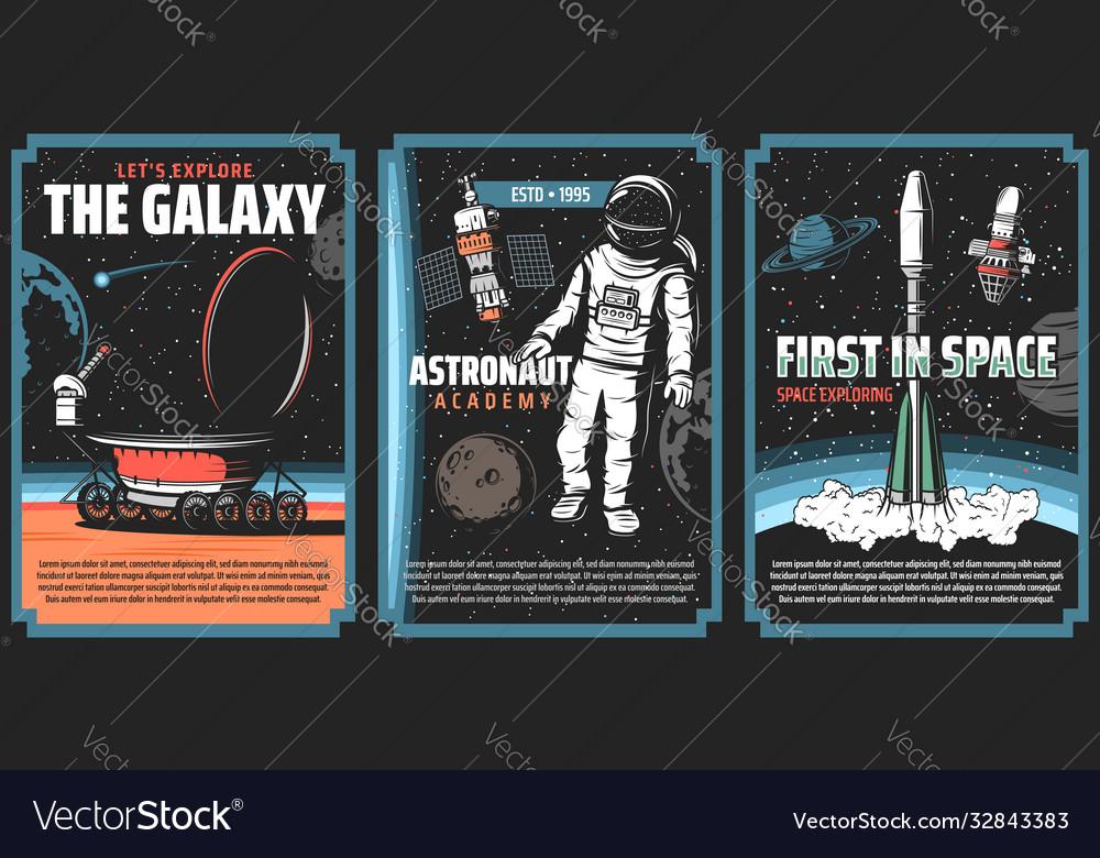Outer space explore retro vintage posters