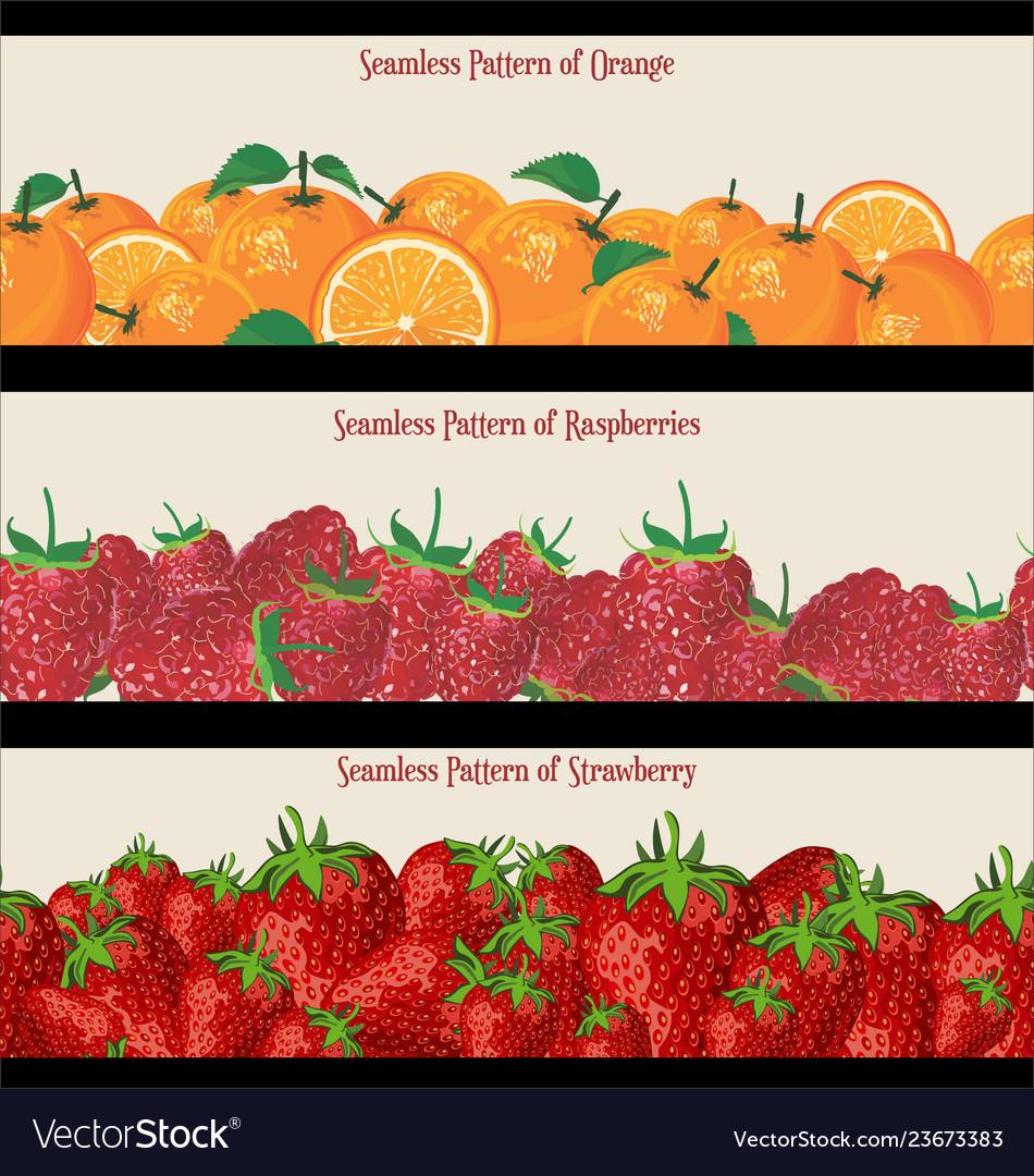 Seamless pattern raspberries strawberries