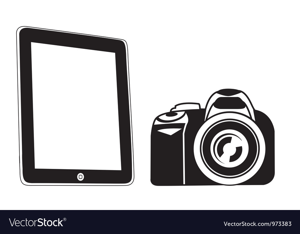 Tablet and camera black vector image
