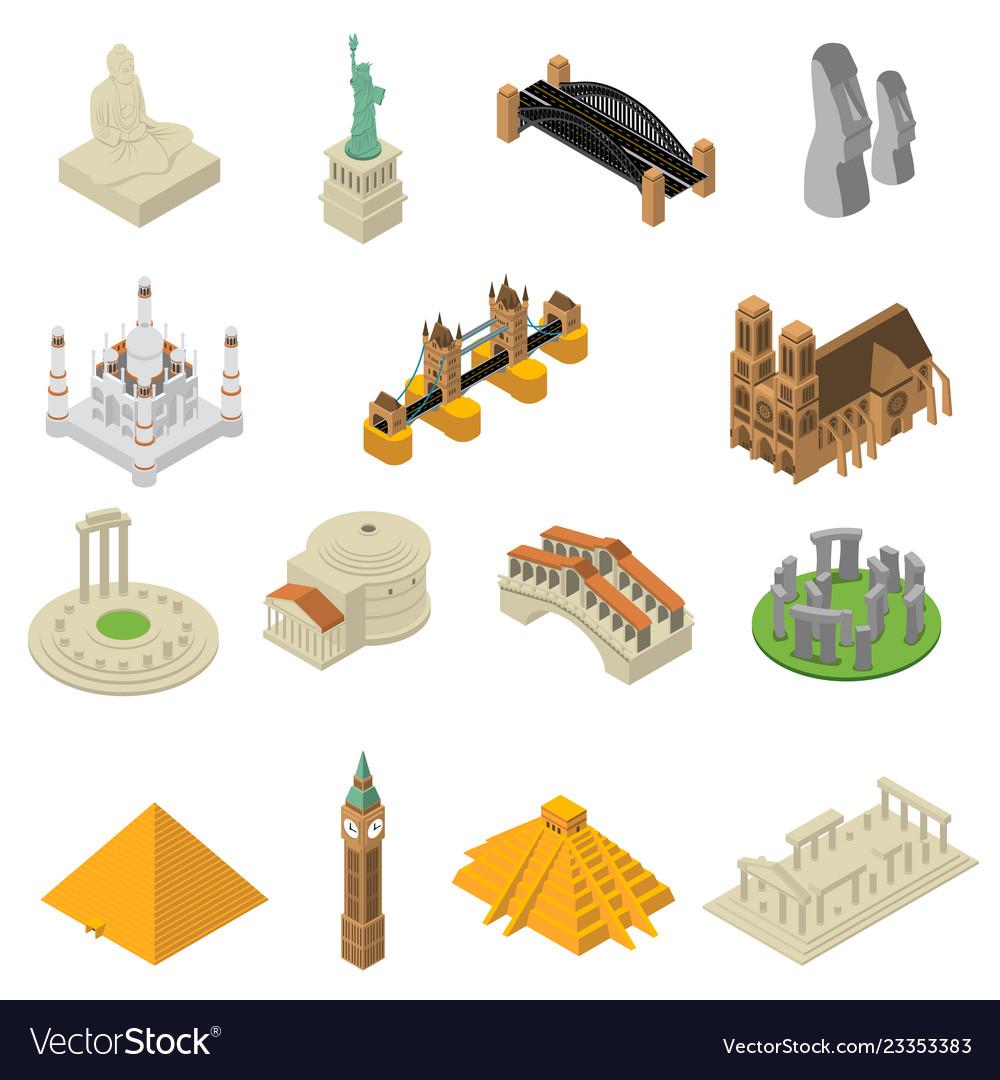 World famous landmarks isometric icons set
