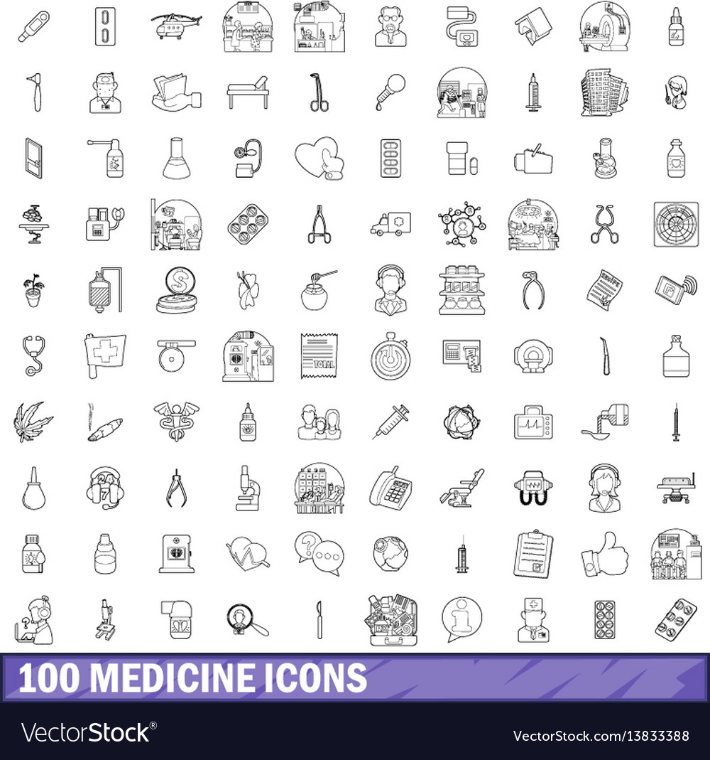 100 medicine icons set outline style