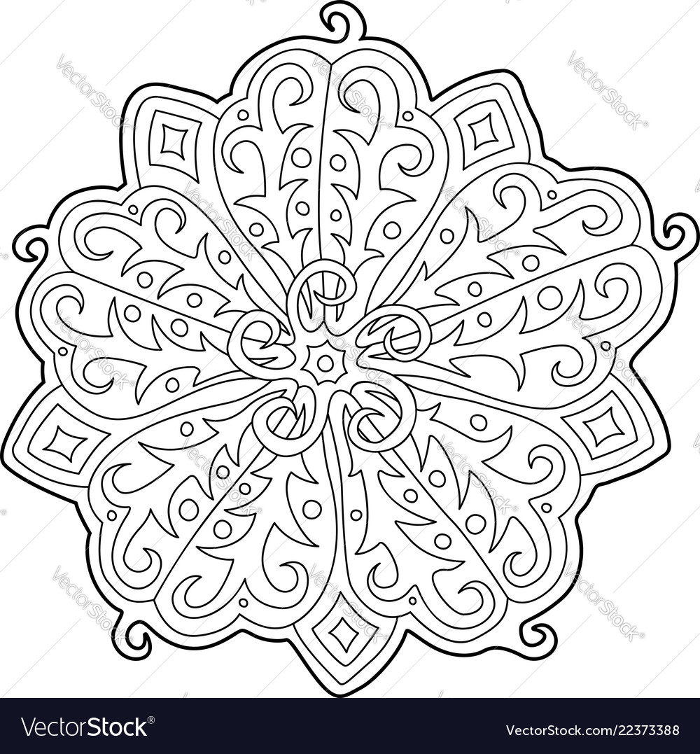 Beautiful floral pattern for coloring book page