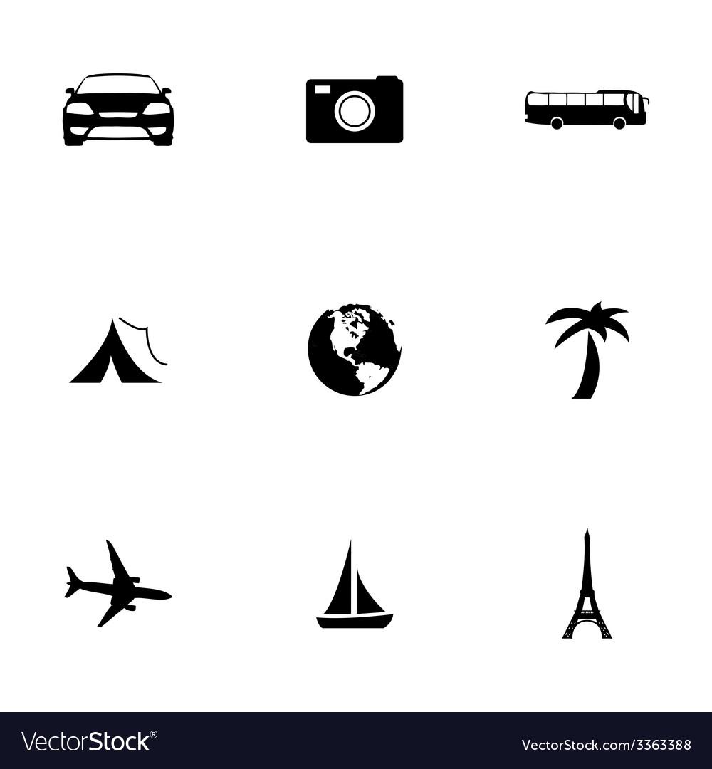 Black travel icons set