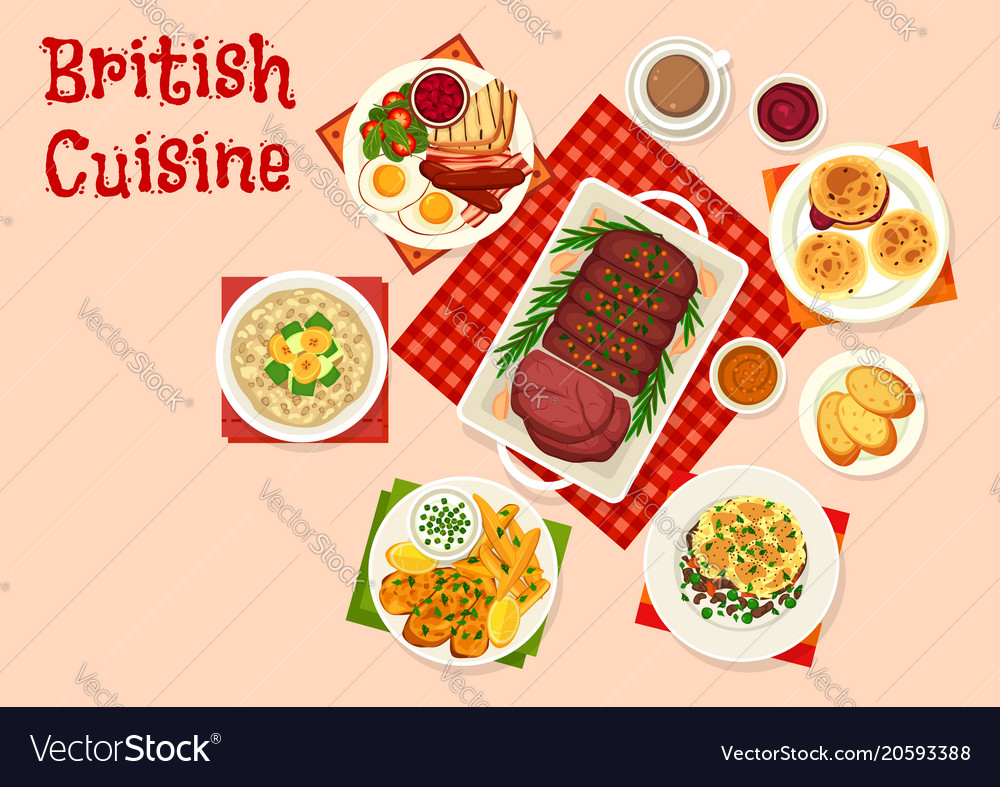 British cuisine icon of traditional breakfast food