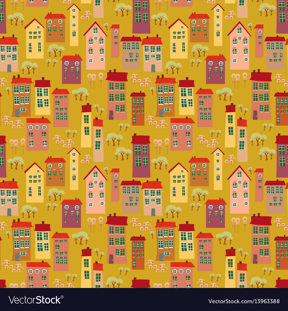 Cartoon seamless pattern with landscape