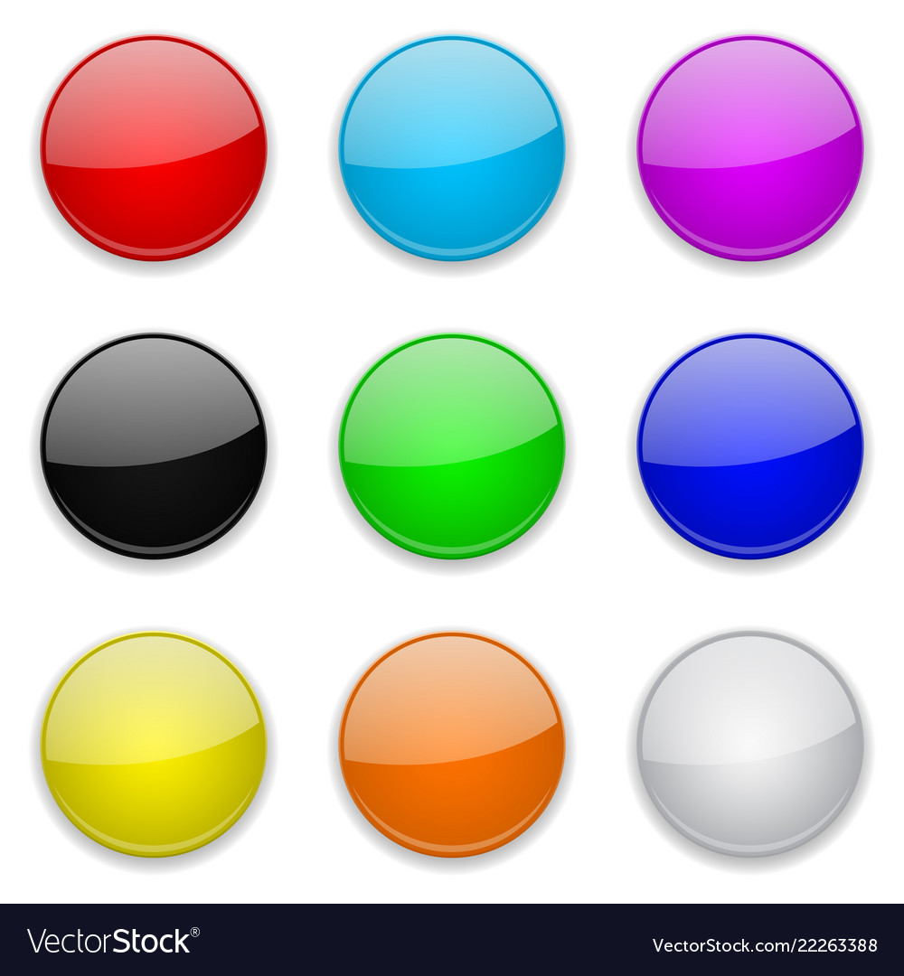 Colored glass 3d buttons round icons