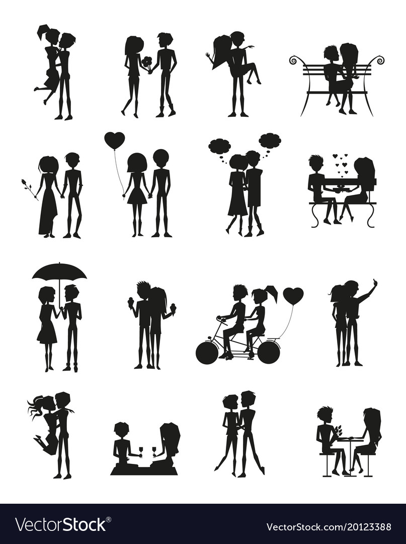 Couples in love silhouette set