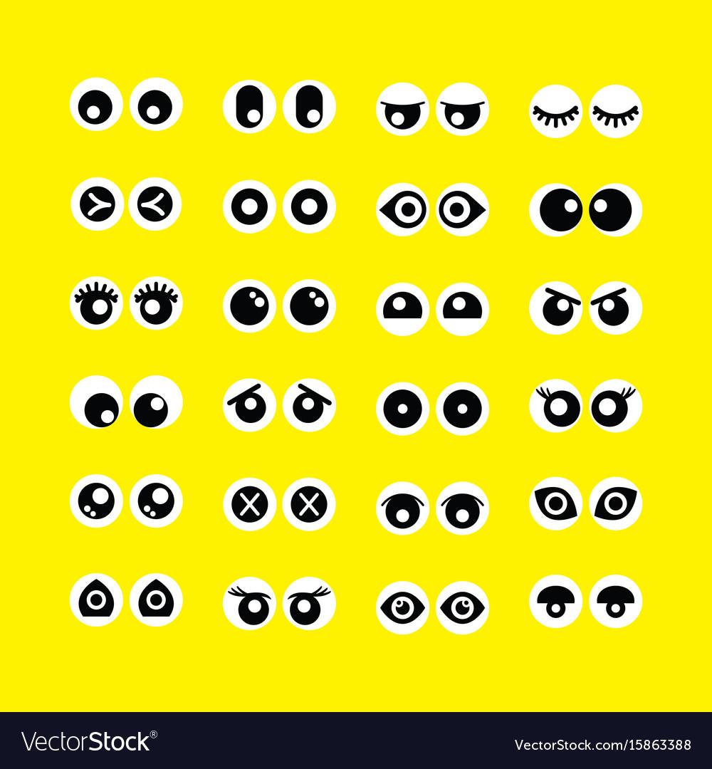 Cute assorted cartoon circle eyeballs emoji icons vector image