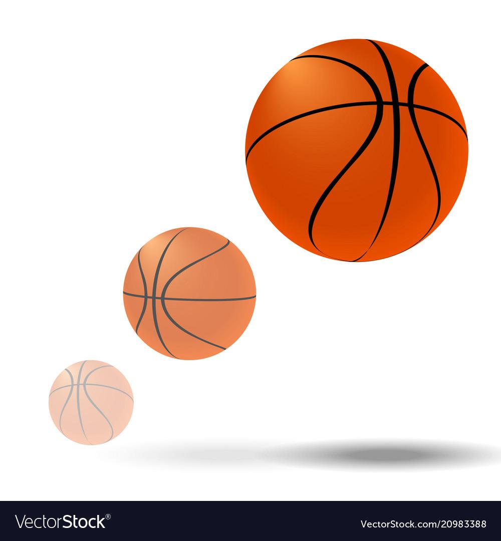 Flying basketball ball