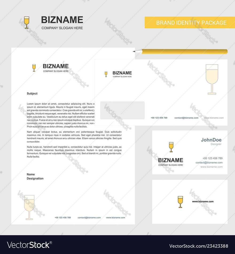 Glass business letterhead envelope and visiting