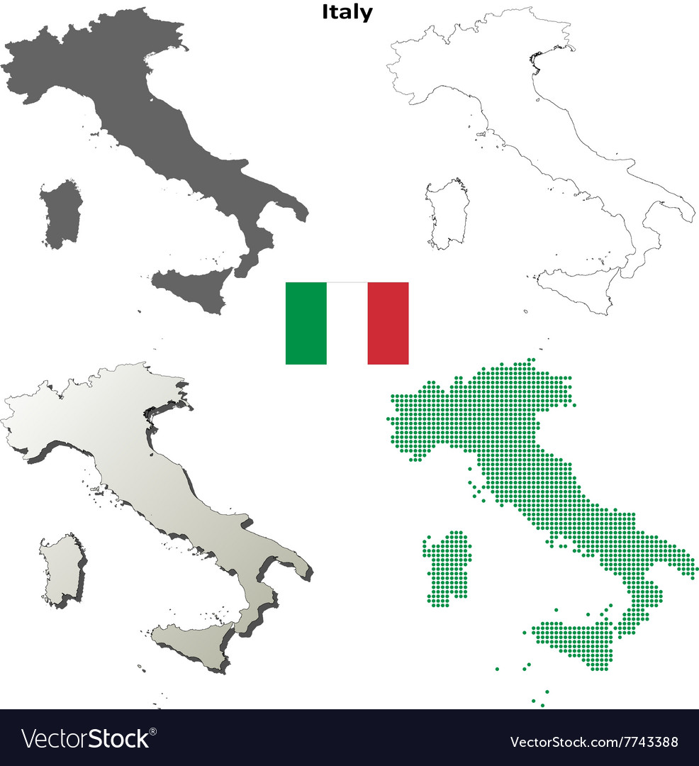 Map Of Italy Outline.Italy Outline Map Set Royalty Free Vector Image