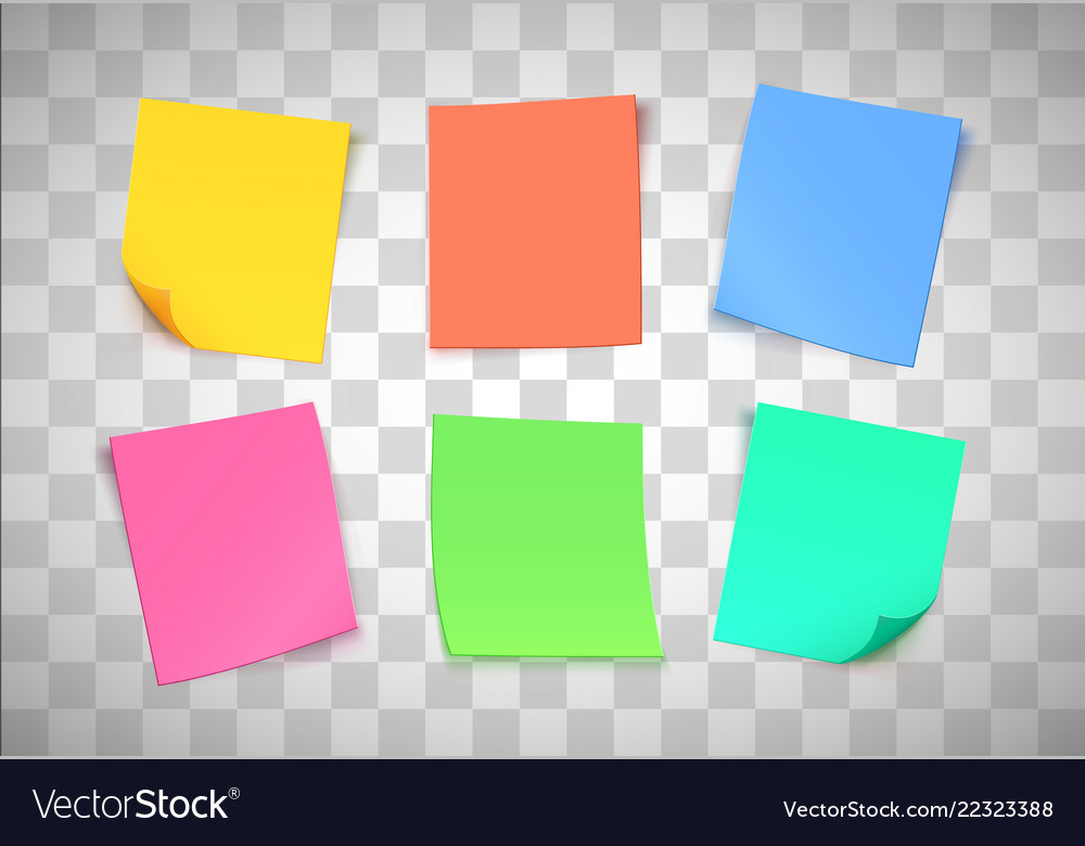 Multicolor paper notes on transparent background