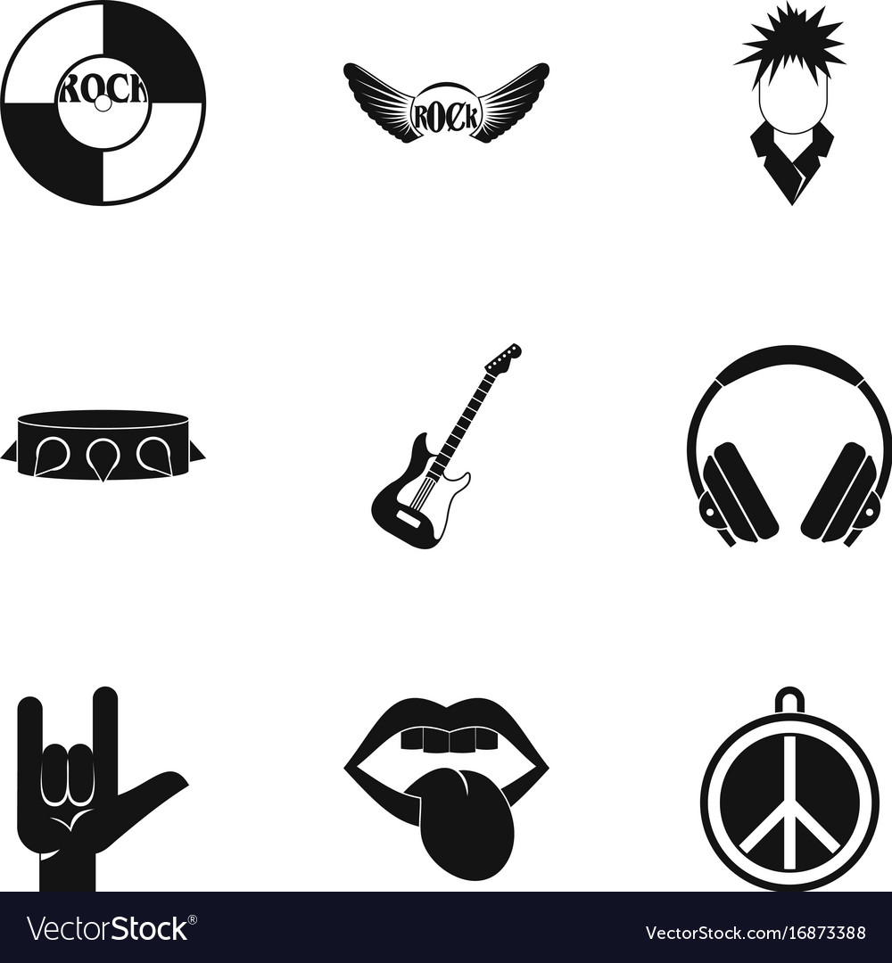 Rock instrument icon set simple style vector image
