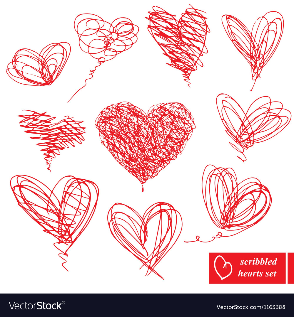 Set of 10 scribbled hand-drawn sketch hearts