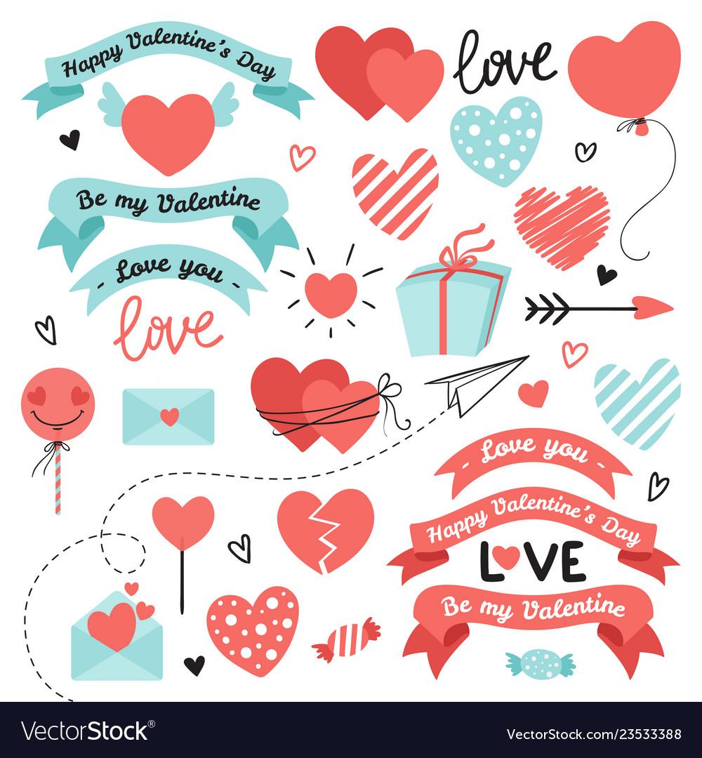 Set of elements for valentines day wedding design