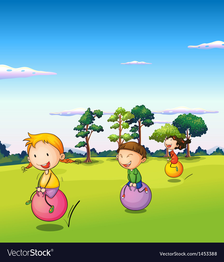 Three kids playing with the bouncing balls