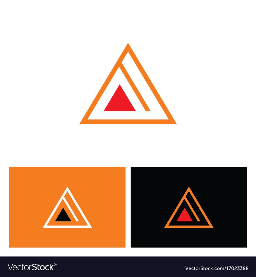 Triangle pyramid line logo vector image