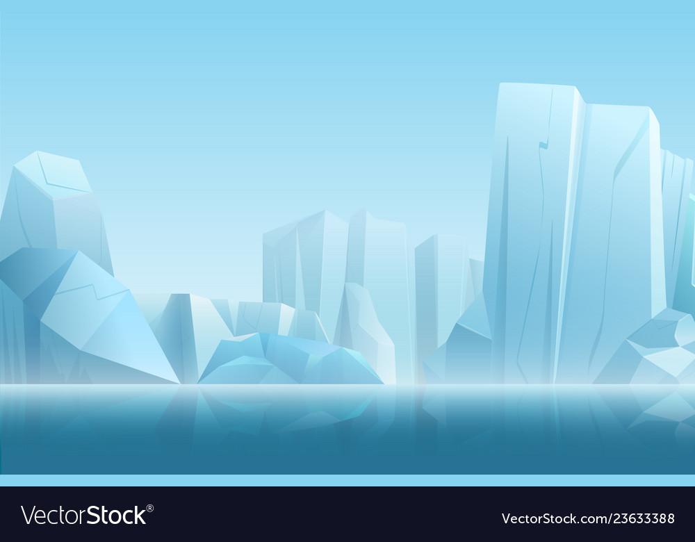 Winter arctic landscape with iceberg in dark blue