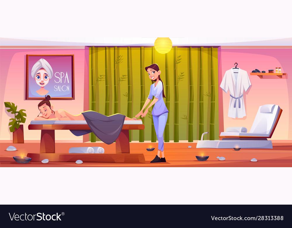 Woman In Spa Salon Apply Massage Beauty Procedure Vector Image