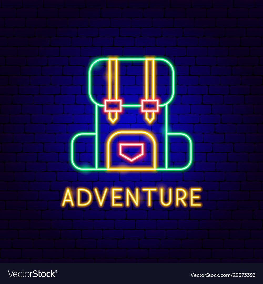Adventure neon label