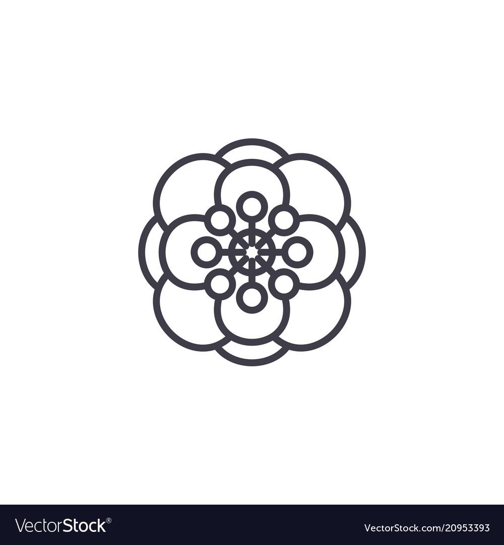 Anemone flower line icon concept anemone flower