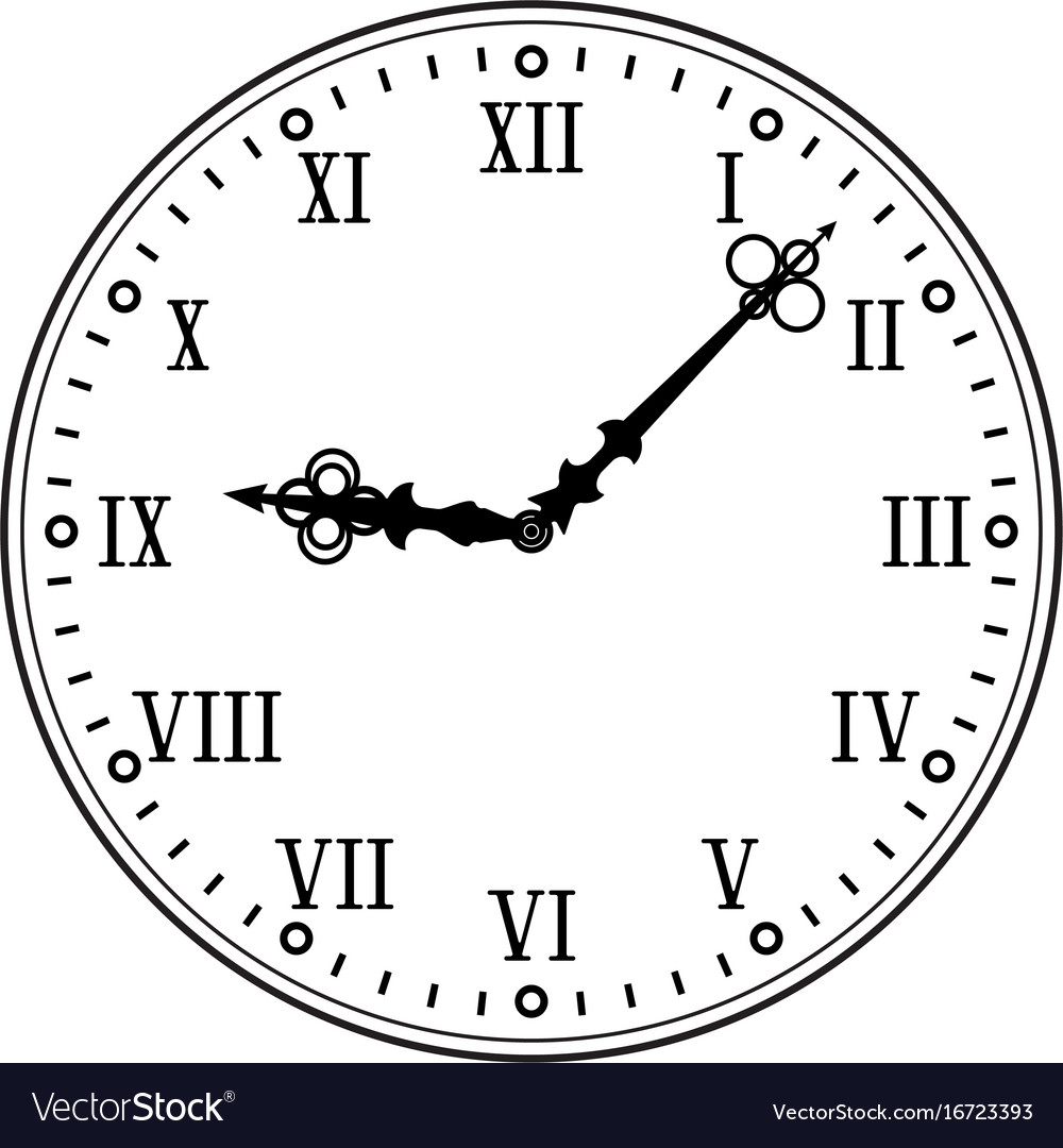 clock face with roman numerals black flat drawing vector image