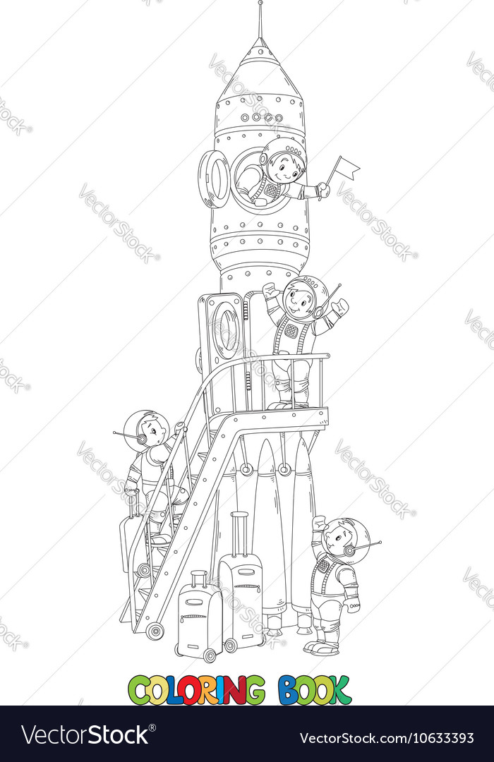 Coloring book of rocket and boys-astronauts