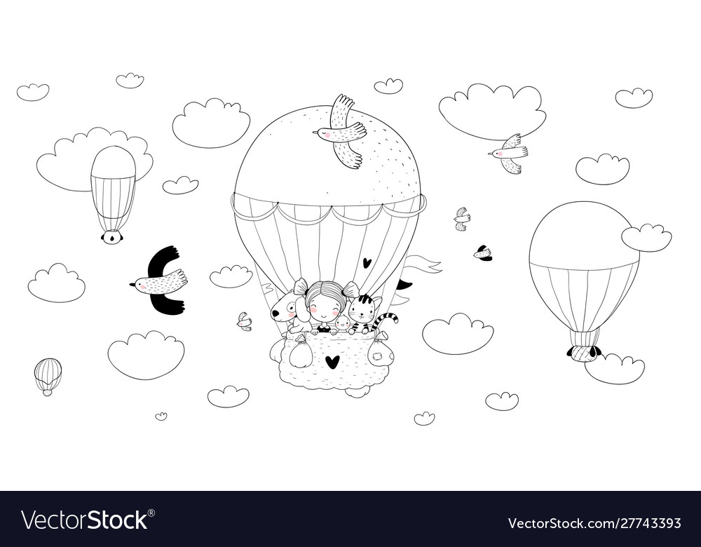 Cute Cartoon Girl And Her Friends Are Flying In A Vector Image