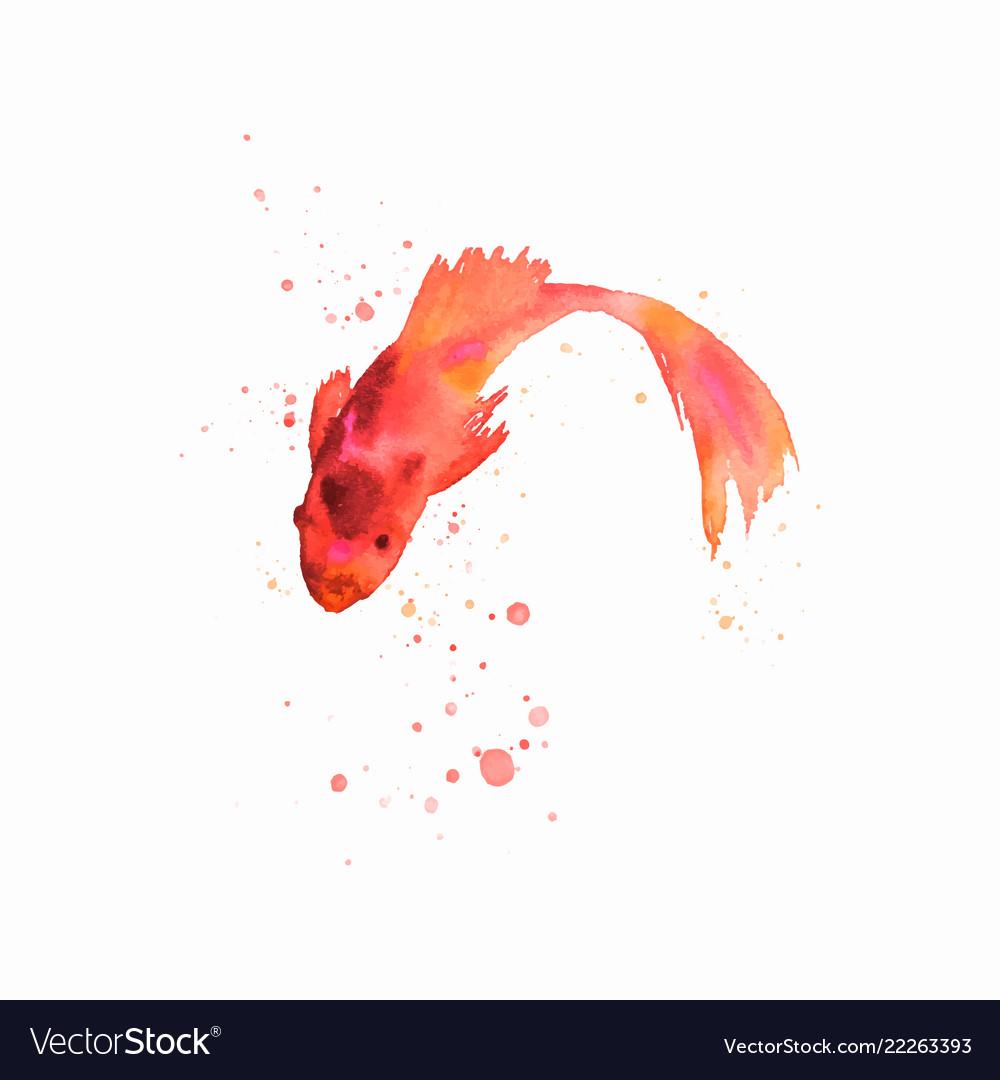 Handmade watercolor fish artwork