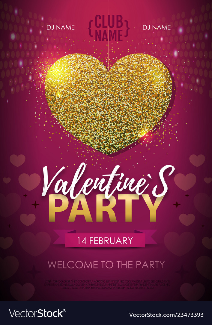 Happy valentines day disco party poster
