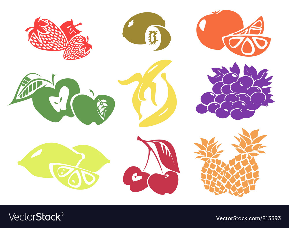 Icon set of various fruit vector image