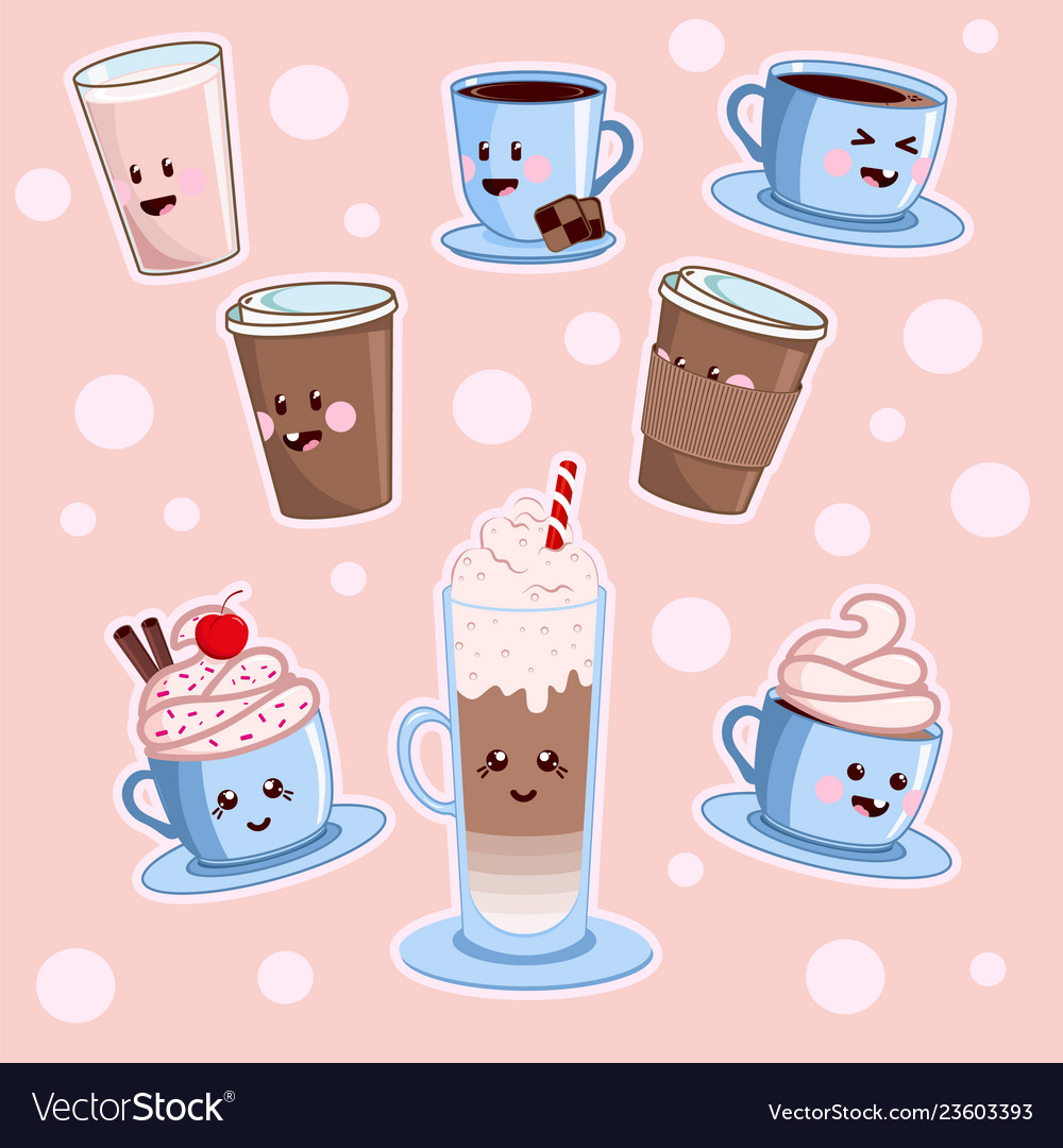 Kawaii Coffee Set Various Cute Cafe Drinks Vector Image