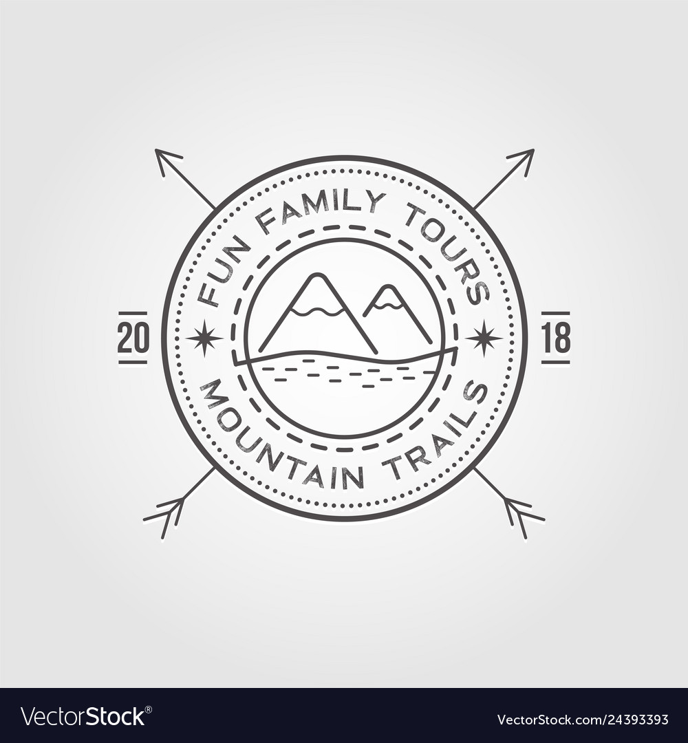 Outdoor logo design template with mountains with