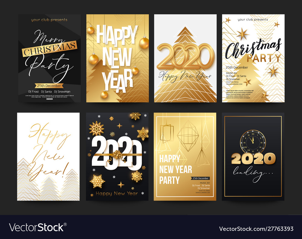 Posters set for 2020 new year with decorative
