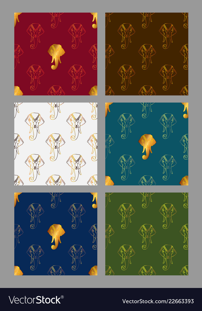 Set seamless pattern with stylized