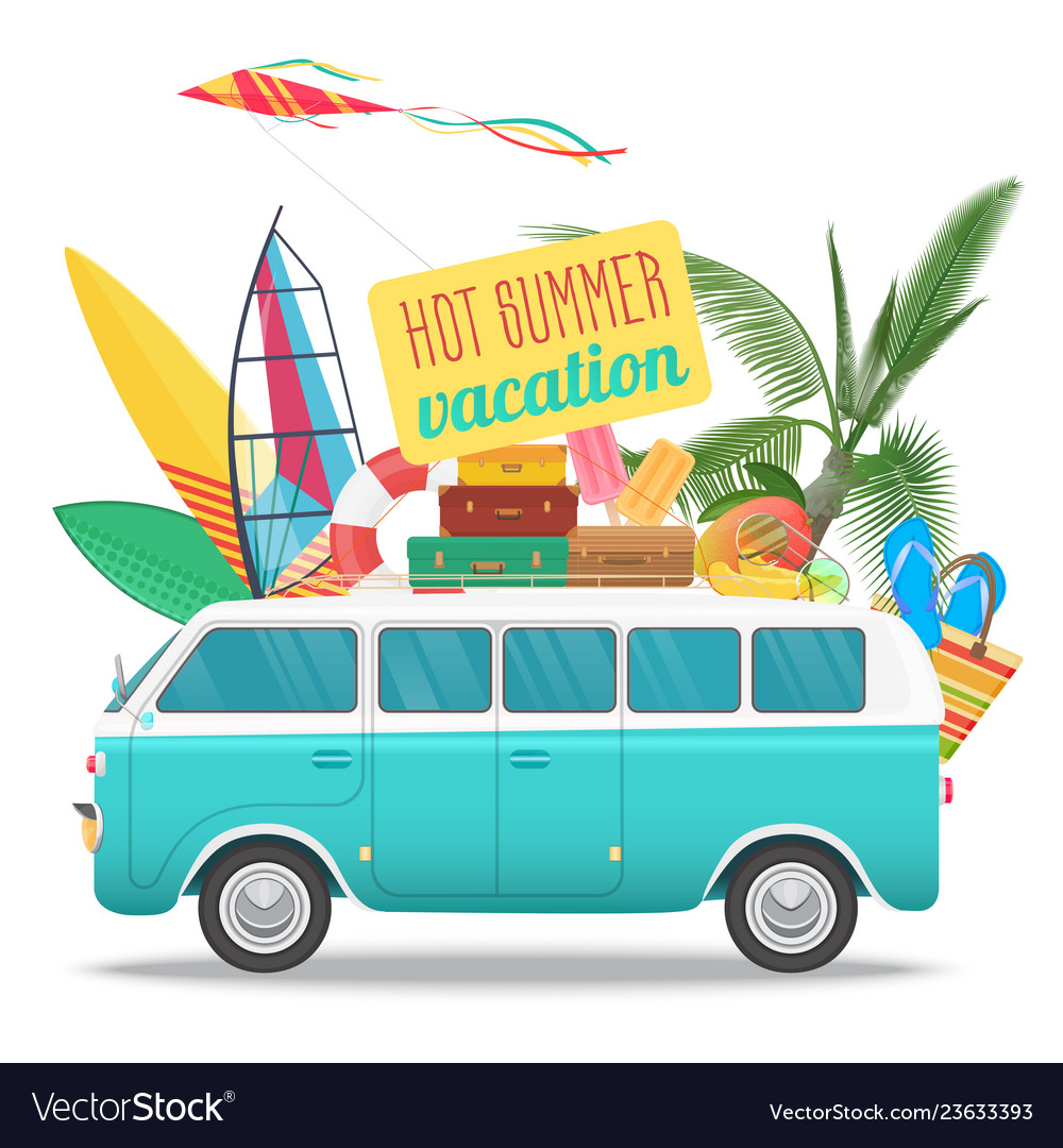 Summer travel with vintage bus